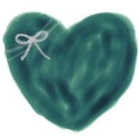 バナー広告、アイコン、webデザインのフリー素材:大人可愛い青緑色のハートとりぼんのイラスト(200×200pix)