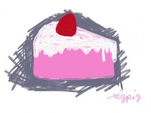ネットショップ、バナー広告、webデザインのフリー素材:ピンクのスポンジの大人かわいいイチゴショートケーキのイラスト。