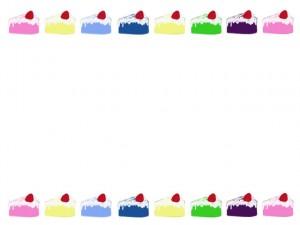 ネットショップ、バナー広告、webデザインのフリー素材:カラフルなスポンジの大人かわいいイチゴショートケーキのイラストのフレーム