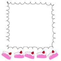 バナー広告、アイコンのwebデザイン素材:ピンクのイチゴショートケーキと手描きのふわふわラインの飾り枠のフリー素材