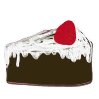 アイコン(twitter,mixi,ブログ)のフリー素材:チョコレート色の大人可愛いイチゴショートケーキのイラストのwebデザイン素材
