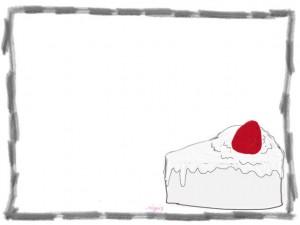 ネットショップ、webデザインのフリー素材:白いクリームの大人可愛いイチゴショートケーキのイラストと飾り枠(フレーム)640×480pix