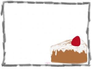 ネットショップ、webデザインのフリー素材:シンプルで大人可愛いイチゴショートケーキのイラストの飾り枠(フレーム)640×480pix
