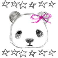 バナー広告、アイコンのwebデザイン素材:手描き鉛筆風の大人可愛いモノクロのパンダとポップな星とポップな星