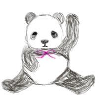 バナー広告、ネットショップ、アイコンのwebデザイン素材:手描き鉛筆風のモノクロのパンダ。森ガールのアイコン、バナー広告に。