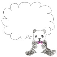 バナー広告、アイコンのwebデザイン素材:手描き鉛筆風の大人可愛いモノクロのパンダと、もこもこの吹出し
