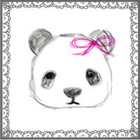 バナー広告、アイコンのwebデザイン素材:手描き鉛筆風の大人可愛いモノクロのパンダとアンティークレースみたいな飾り枠のフリー素材