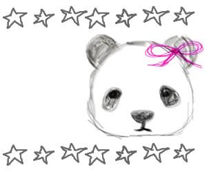 ネットショップ、バナー広告のwebデザイン素材:大人可愛いモノクロのパンダと手描きの星の飾り罫(フレーム)300×250pix