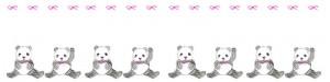 ネットショップのwebデザイン素材:大人可愛いモノクロのパンダとピンクのりぼんのヘッダー用フレーム(800×200pix)