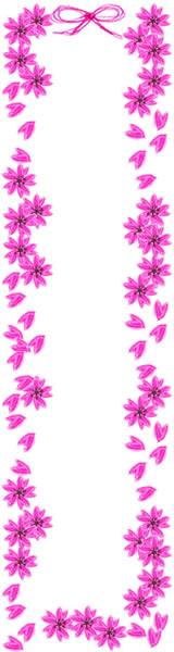 春らしい桜とガーリーなピンクのリボンの飾り枠。バナー広告制作のwebデザイン素材(フリー素材160×600pix)