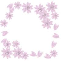 薄いピンクの桜のイラストの飾り枠のアイコンのwebデザイン素材。twitter、mixi、ブログなどのフリー素材。