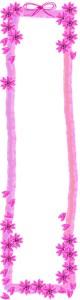 大人可愛いピンクの桜とリボンとガーリーな太めのラインの飾り枠のwebデザイン素材。バナー広告のフリー素材(160×600pix)