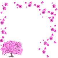 アイコン(twitter,mixi,ブログ)制作のフリー素材:ガーリーなピンクのサクラの木と花びらのwebデザイン素材