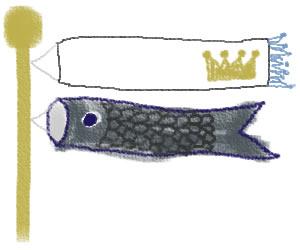 バナー広告、webデザインのフリー素材:大人可愛いこいのぼりと、王冠の旗の飾り枠(300×250pix)