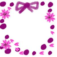 ネットショップ、バナー広告のwebデザイン素材:春らしい桜と紫色の水玉とリボンの飾り枠のフリー素材。アイコン(twitter,mixi,ブログ)制作に。