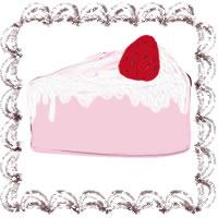バナー広告、アイコンのwebデザイン素材(200×200pix):大人可愛い茶色のクリームみたいなレトロな飾り枠とピンクの苺ショートケーキのフリー素材