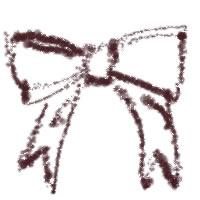 バナー広告、アイコンのwebデザイン素材(200×200pix):茶色のレトロでガーリーなリボンのフリー素材