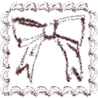 バナー広告、アイコンのwebデザイン素材(200×200pix):大人可愛い茶色のクリームみたいなレトロな飾り枠とリボンのフリー素材