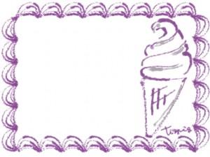 バナー広告、ネットショップのwebデザイン:大人かわいい薄紫色のクリームみたいなレトロな飾り枠とソフトクリーム(640×480pix)