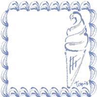 バナー広告、アイコンのwebデザイン素材:パステルブルーのクリームみたいなレトロな飾り枠とソフトクリームのフリー素材(200×200pix)