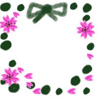 ネットショップ、バナー広告のwebデザイン素材:大人可愛い緑色の水玉と桜のアイコンのフリー素材(200×200pix)