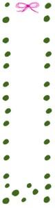 バナー広告のwebデザイン素材:大人可愛い緑の水玉とリボンのイラストのフリー素材(160×600pix)