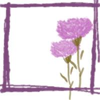 ネットショップ、バナー広告のwebデザイン素材:ガーリーなピンクのカーネーションと紫のラフな飾り枠。アイコン(twitter,mixi)のフリー素材(200×200pix)