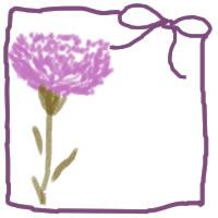 ネットショップ、バナー広告のwebデザイン素材:大人可愛い紫のリボンとピンクのカーネーションの飾り枠。母の日のアイコン素材(200×200pix)
