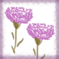 ネットショップ、バナー広告のwebデザイン素材:大人可愛いピンクの花(カーネーション)と紫の飾り枠。母の日のアイコン素材(200×200pix)