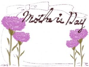 母の日のwebデザイン素材:大人可愛いリボンとカーネーションと「mother's day」の手書き文字のバナー広告、ネットショップの飾り枠(640×480pix)