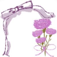 バナー広告、ネットショップのwebデザイン素材:ガーリーなピンクの花(カーネーション)と大人可愛いリボンの飾り枠。母の日のフリー素材(200×200pix)