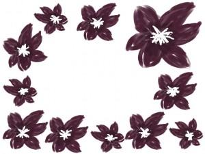 バナー広告、ネットショップのwebデザイン素材:大人可愛い茶色の花いっぱいの飾り枠のフレーム素材(640×480pix)