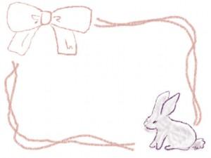 バナー広告、ネットショップのwebデザイン素材:ガーリーで大人かわいい紫の兎(ウサギ)とピンクのリボンのフレーム(飾り枠)素材(640×480pix)