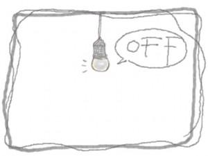 バナー広告、ネットショップの節電のwebデザイン素材:電球とラフなラインの飾り枠と「OFF」の手書き文字のフレーム素材(640×480pix)
