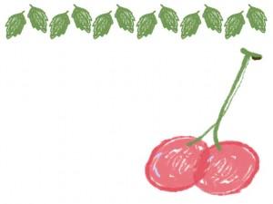 バナー広告、ネットショップのアイコンのwebデザイン素材:大人可愛い緑の葉っぱとピンクのさくらんぼのフレーム素材(640×480pix)
