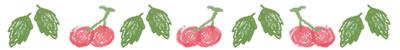 ネットショップ、バナー広告のwebデザイン素材:大人可愛いさくらんぼと葉っぱの飾り罫