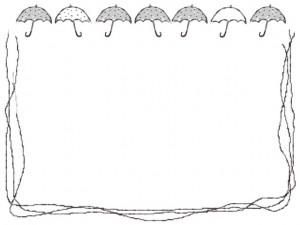 バナー広告、ネットショップのアイコンのwebデザイン素材:大人可愛い水玉(ドット)のモノクロの傘のフレーム素材(640×480pix)