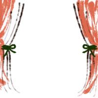 web制作、ネットショップ運営、バナー広告のアイコン(twitter,mixi)、webデザイン素材:ガーリーなオレンジのカーテンのフレーム(200×200pix)