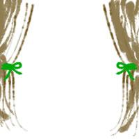 バナー広告、アイコン(twitter,mixi)、web制作、ネットショップ運営のwebデザイン素材:ガーリーなモスグリーンのカーテンのフレーム(200×200pix)