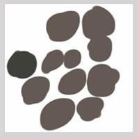 web制作、ネットショップ運営、webデザインのフリー素材:アイコン(twitter,mixi);大人かわいいグレーの北欧風の花みたいな水玉のイラスト(枠付き)