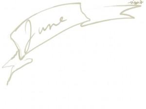 web制作、ネットショップのwebデザイン素材:大人可愛いパステルブラウンのJune(6月)の手書き文字とガーリーなリボンのフレームのフリー素材(640×480pix)