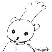 ネットショップ、web制作のアイコン(twitter,mixi)、webデザイン素材:ガーリーな大人可愛いモノクロのくまのコックさんのアイコン(200×200pix)