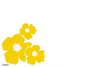 ホームページ、ネットショップ、web制作のwebデザイン素材:大人可愛い黄色の南国風の花(3輪)のフレームのフリー素材(640×480pix)