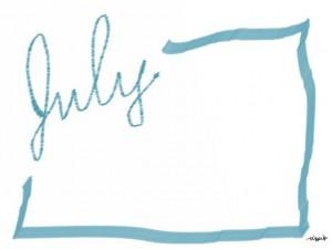 7月のバナー広告、web制作、ネットショップのwebデザイン素材:大人可愛い手描き文字「july」(7月)とブルーのラインの囲み枠のフリー素材
