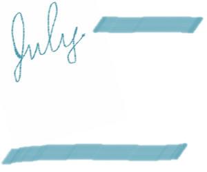 web制作、バナー広告、ホームページ制作のwebデザイン素材:ガーリーな大人可愛い手描き文字「july」(7月)とブルーのラインのフリー素材(300×250pix)