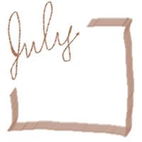 ネットショップ、バナー広告のアイコン(twitter,mixi)、webデザイン素材:大人可愛い茶色の手描き文字「july」(7月)とラインのフレーム(200×200pix)