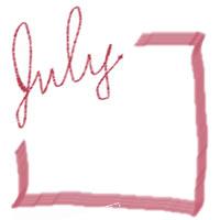 ネットショップ、バナー広告のアイコン(twitter,mixi)、webデザイン素材:大人可愛い赤の手描き文字「july」(7月)とラインのフレーム(200×200pix)