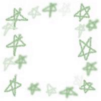 ネットショップ、バナー広告のアイコン(twitter,mixi)、webデザイン素材:ポップでガーリーなパステルグリーンの手描きの星のフレーム(200×200pix)