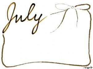 バナー広告、webデザイン素材:フレーム・飾り枠:640×480pix;モノクロの手書き文字「July」とガーリーな茶色のリボンの飾り枠の大人かわいいフリー素材