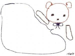 webデザイン素材:フレーム・飾り枠:640×480pix;ガーリーで大人可愛い、らくがき風のクマと吹出しのフリー素材